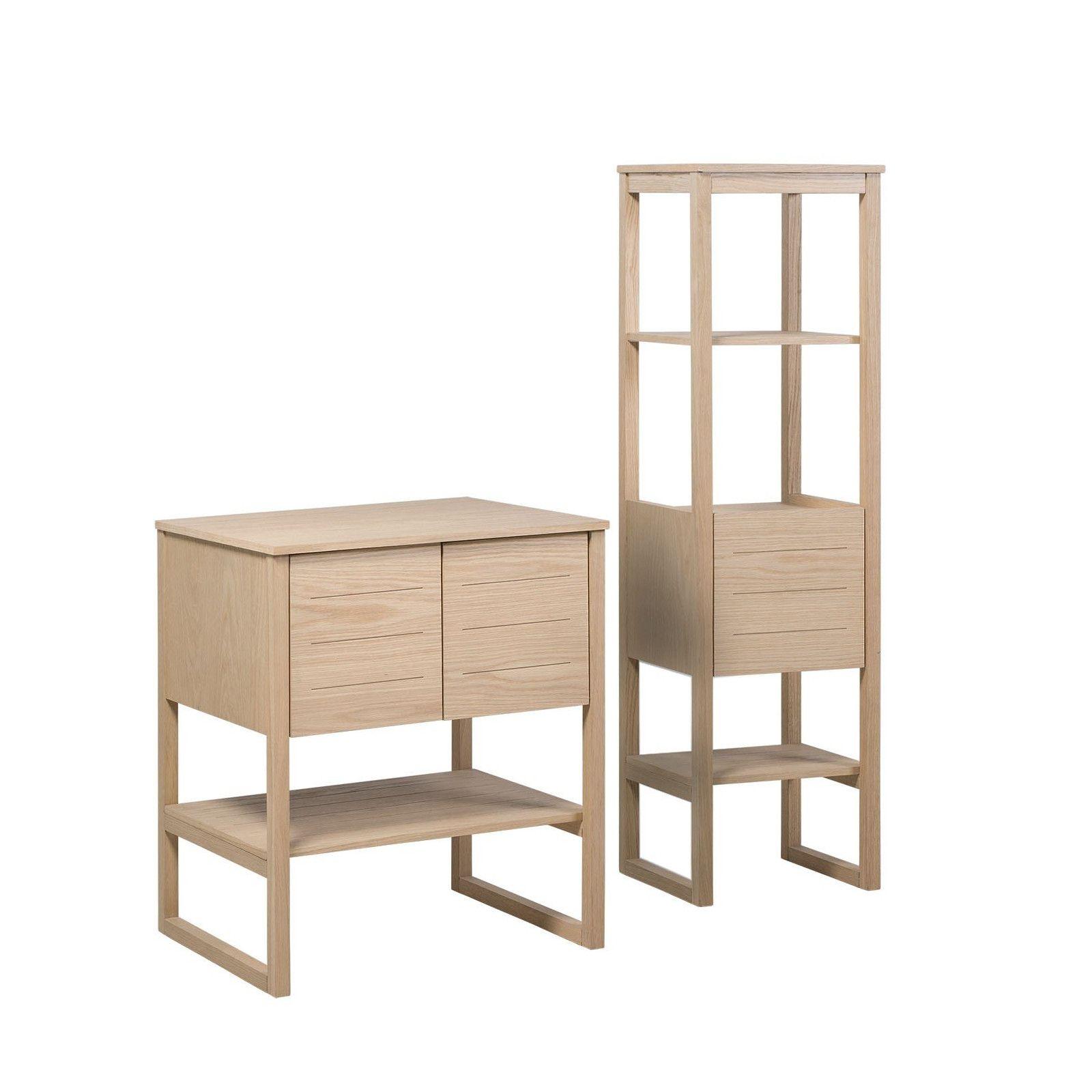 meuble de salle de bain chene 70 cm colonne de rangement chene 145 cm atoll