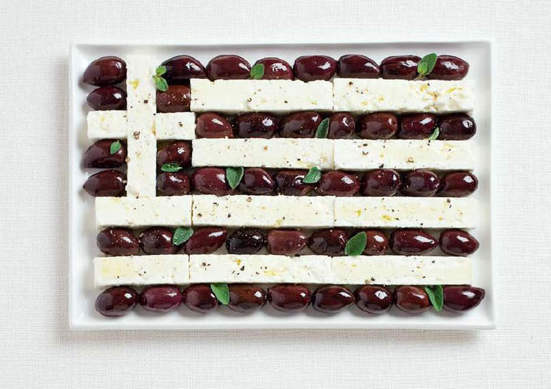 greece flag made from food