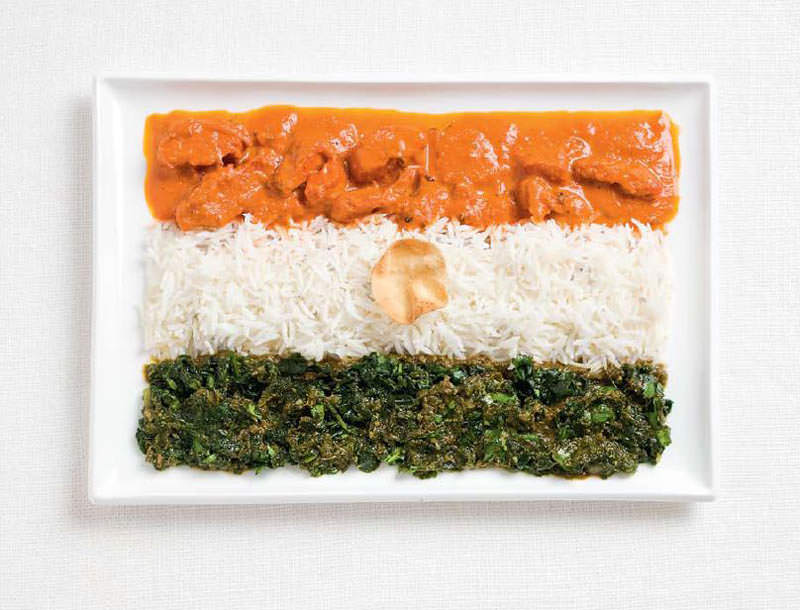 india flag made from food