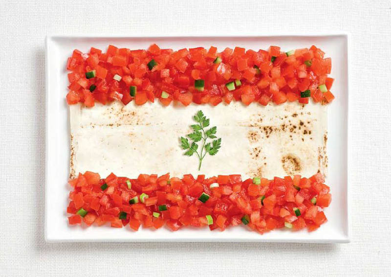 lebanon flag made from food