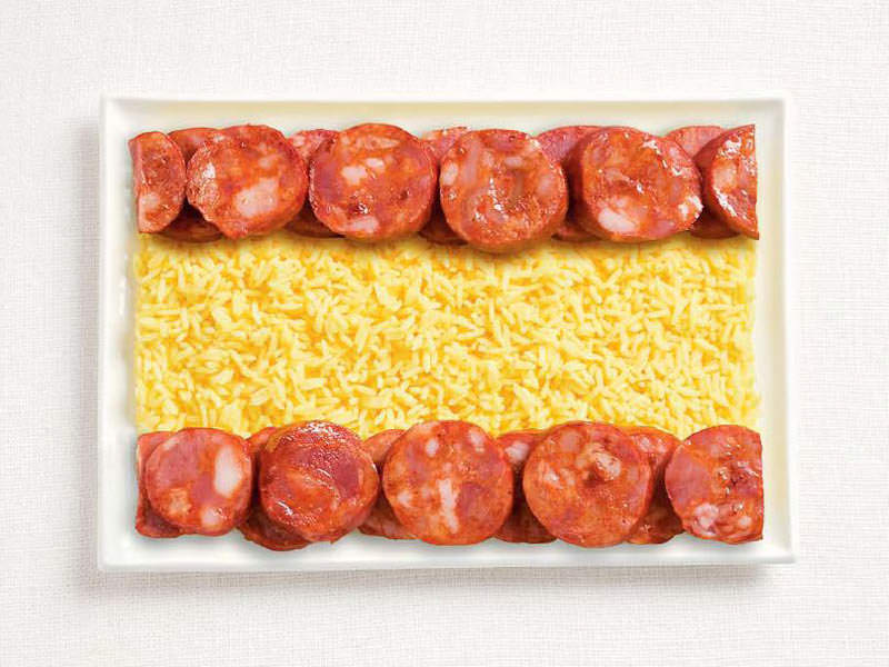 spain flag made from food