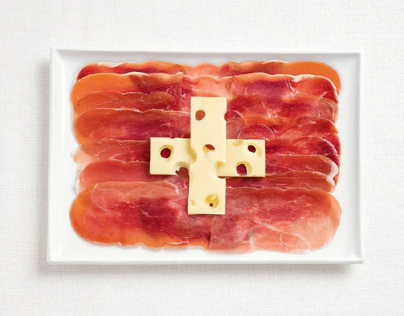 switzerland flag made from food