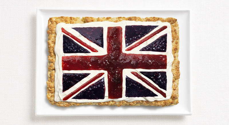 united kingdom flag made from food
