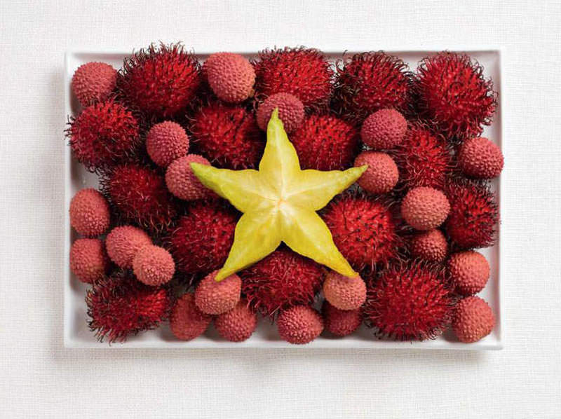 vietnam flag made from food