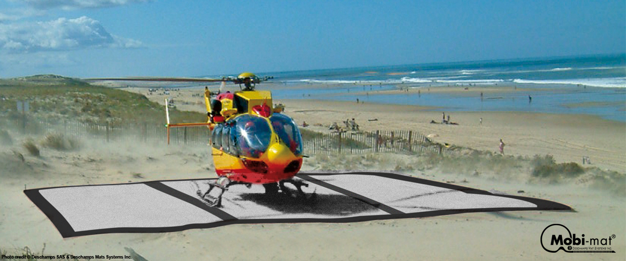 wheeled beach chair sport brella helipad™ - mobi-mat by dms inc.