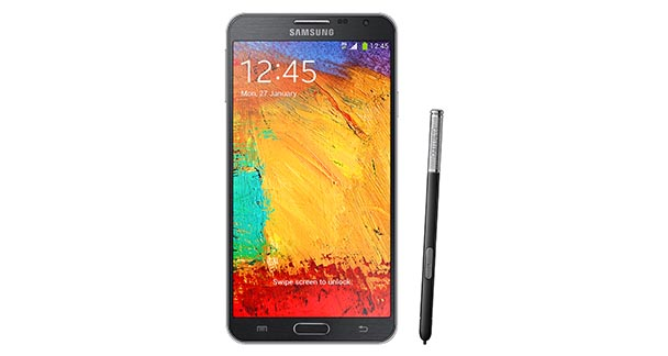 Samsung Galaxy Note 3 Neo Front View with Pen black