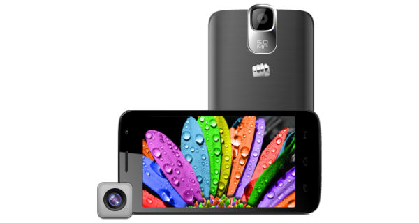 Micromax Canvas Entice A105 Front and Back View