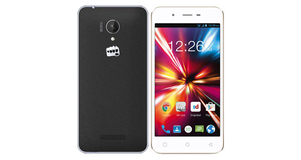 Micromax Canvas Spark Q380 Front and Back View