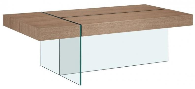 table basse design bois clair et verre trempe transparent akira