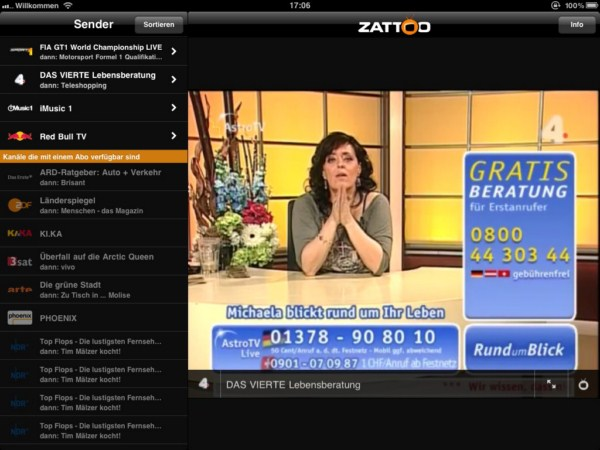 nun auch in deutschland tv livestreaming mit der zattoo ipad app. Black Bedroom Furniture Sets. Home Design Ideas