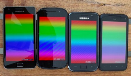 von oben Displayfarben Galaxy_S Galaxy_S2 Nexus_S Incredible_S