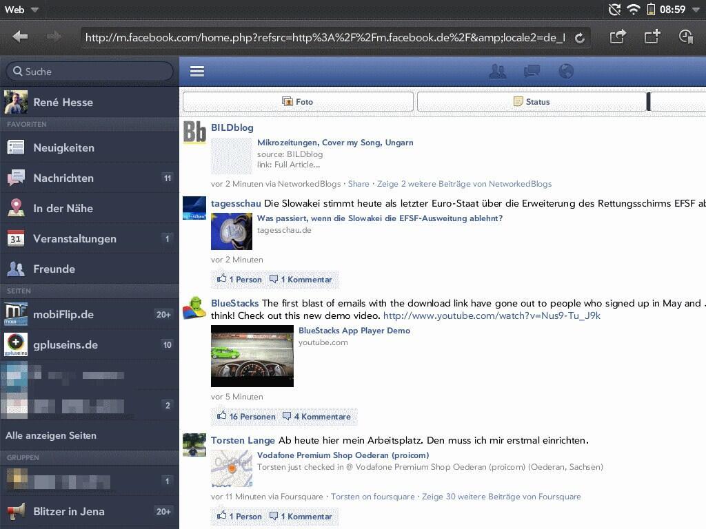 neue mobile facebook webseite unter android ios und webos angetestet. Black Bedroom Furniture Sets. Home Design Ideas