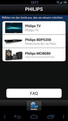 Philips My Remote Gefundene Komponenten Screenshot
