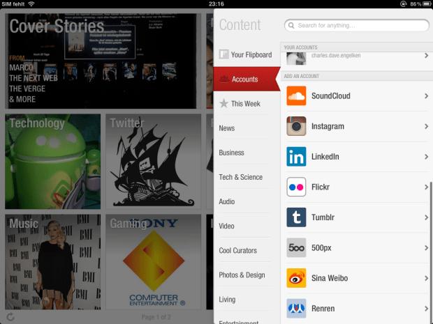 Flipboard 1.9 für iOS mit SoundCloud Integration