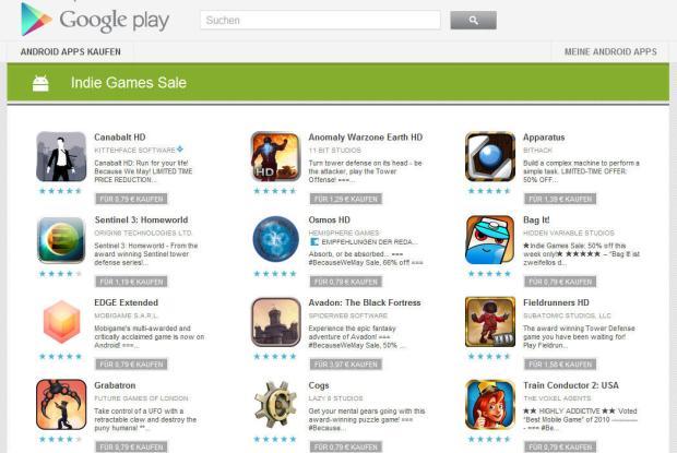 Indie Games Sale im Google Play Store