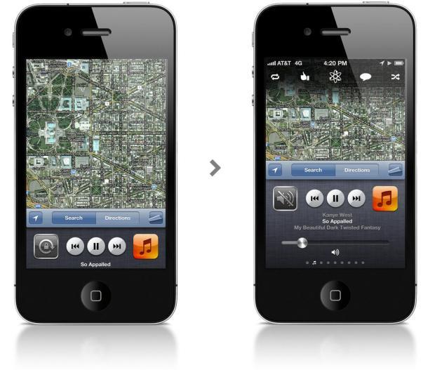 iPhone Konzept - Musik-Kontrollen