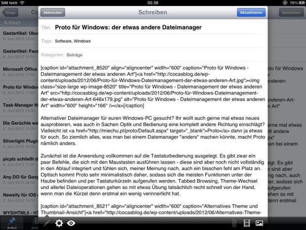 WordPress für das Apple iPad