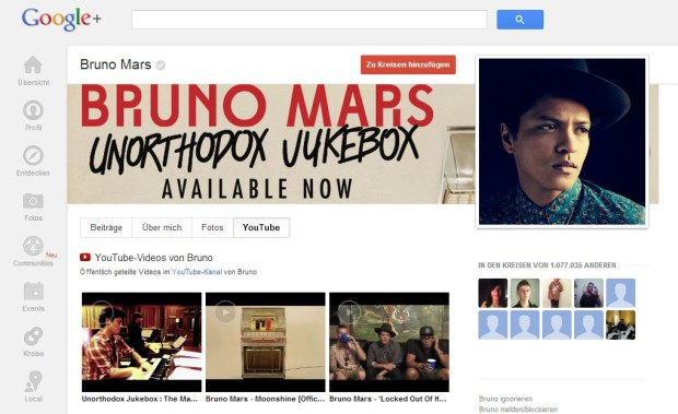 google plus youtube tab