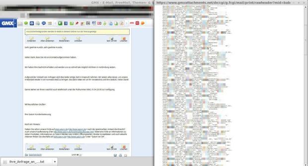 saturn email fail