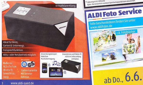 medion life e69229 bluetooth lautsprecher f r 30 euro bei aldi. Black Bedroom Furniture Sets. Home Design Ideas