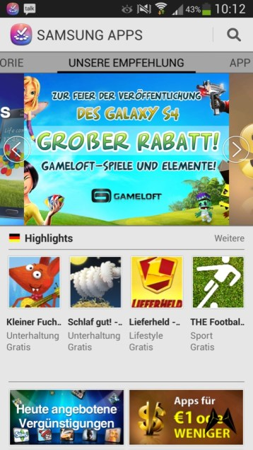 Samsung Galaxy S4 Apps