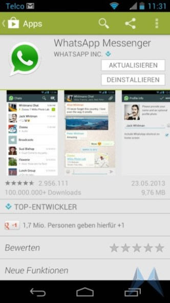 whatsapp screen udpate