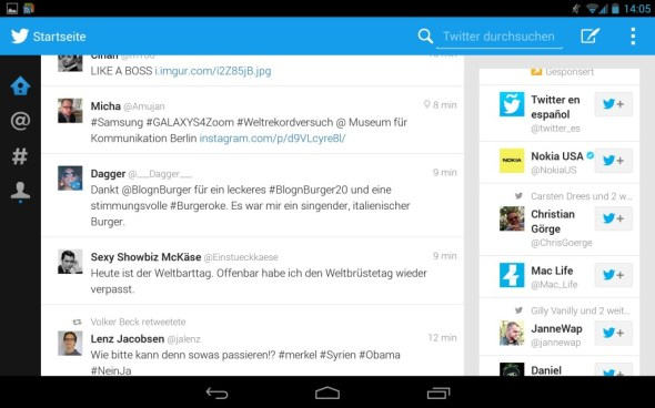 twitter android tablets