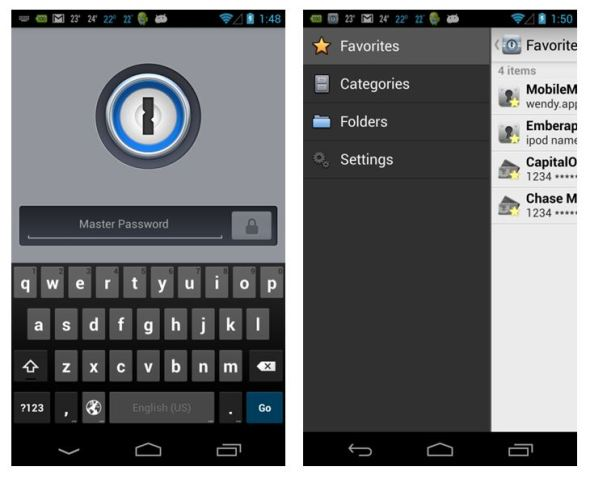 1Password 4 Android Screenshots