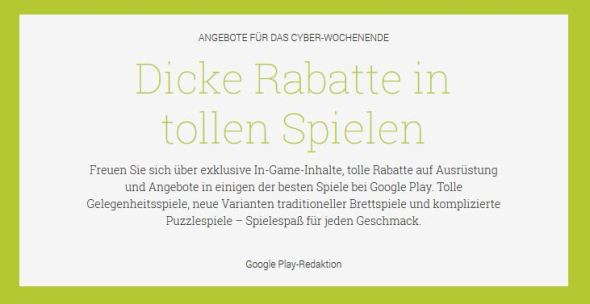 Play Store Cyber Wochenende