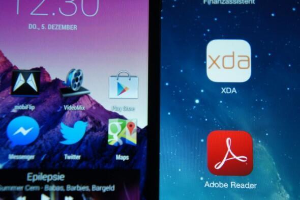 Nexus 4 vs iPad Air: Obwohl N4-Display besseren dpi-Wert aufweist, wird es mit überlegenden Farben und besseren Blickwinkel des Airs gnadenlos zerstört