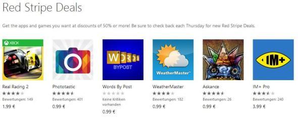 Red Stripe Deals für Windows Phone Aktionsapps für KW 102014