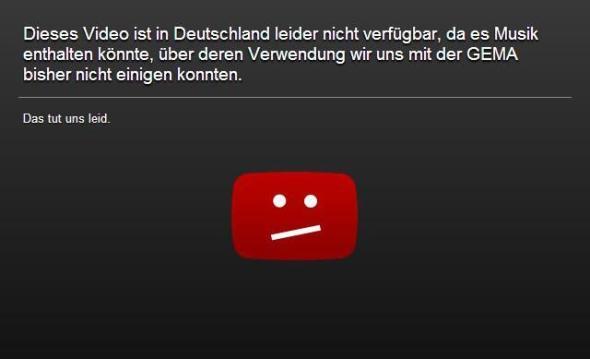 YouTube GEMA-Sperrtafel
