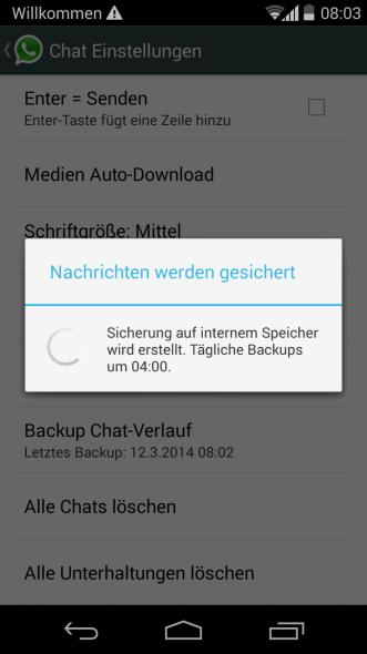 whatsapp chat verlauf backup