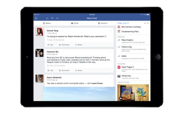Facebook iPad Seitenleiste Header