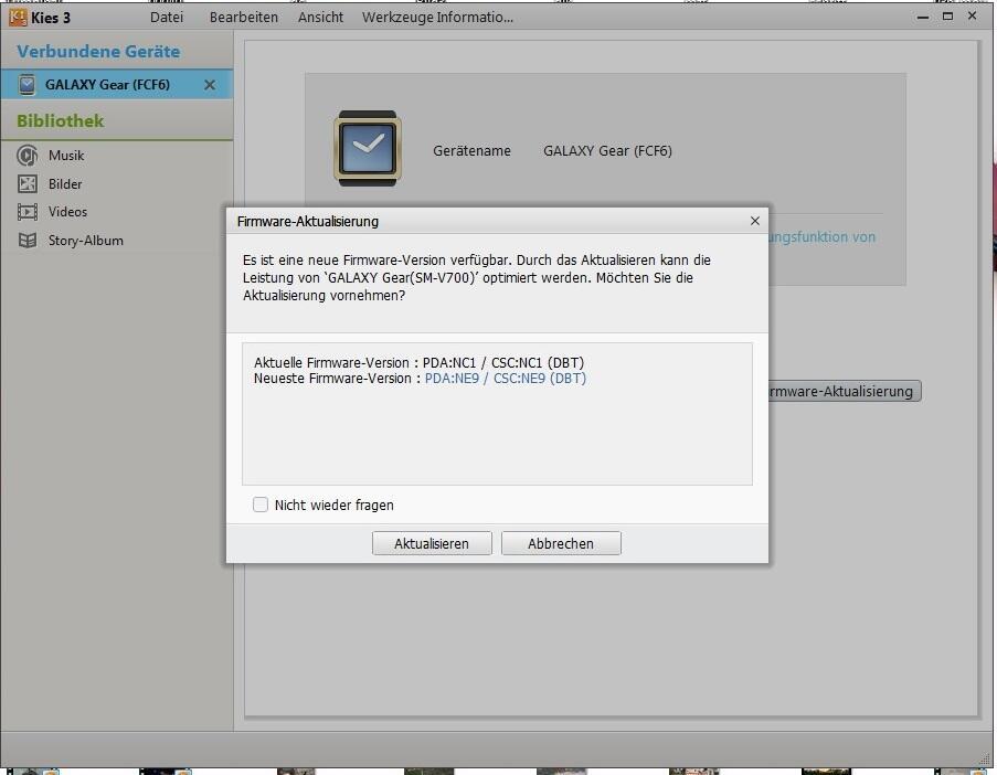 Samsung Galaxy Gear Update Tizen