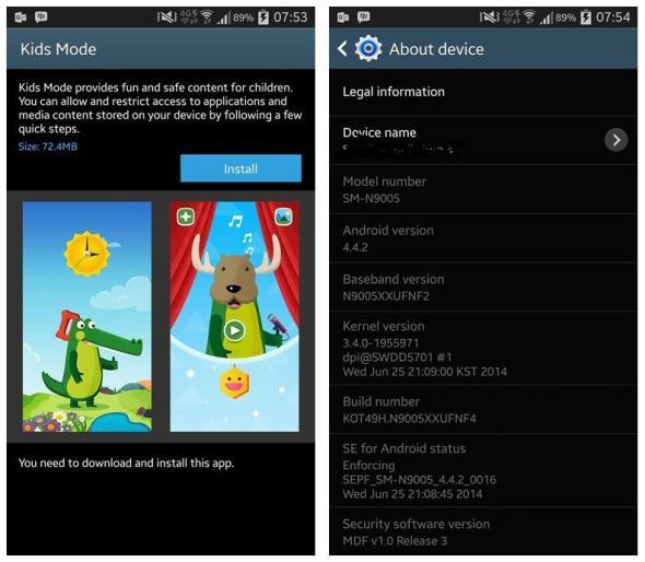 Samsung Galaxy Note 3 Update Screenshots