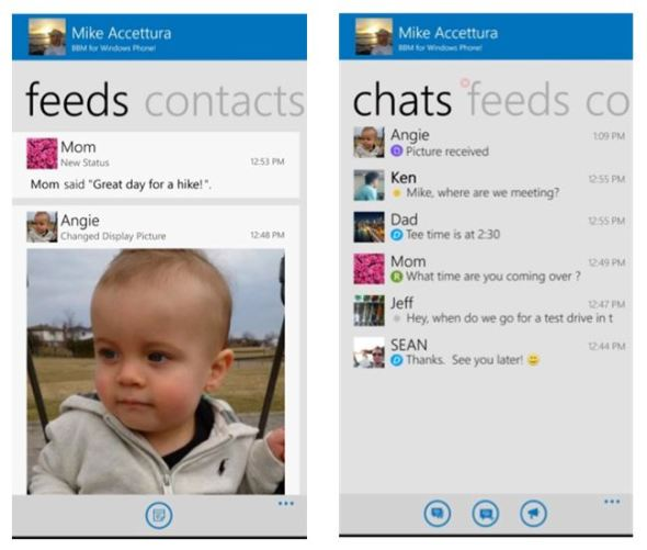 BlackBerry Messenger Windows Phone Screenshots