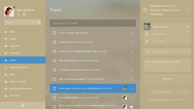 Wunderlist 3 Windows 8 Beta 02
