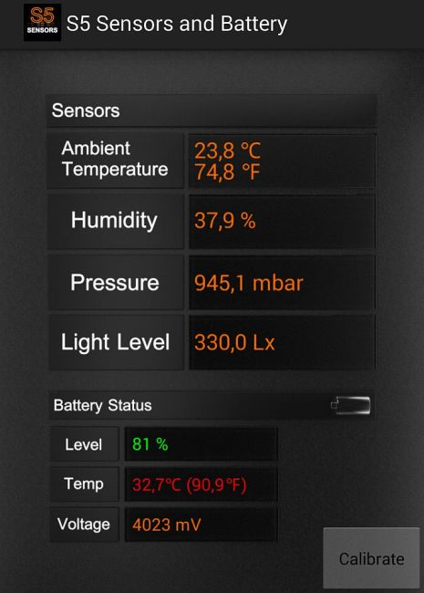 Galaxy S5 Sensors and Battery