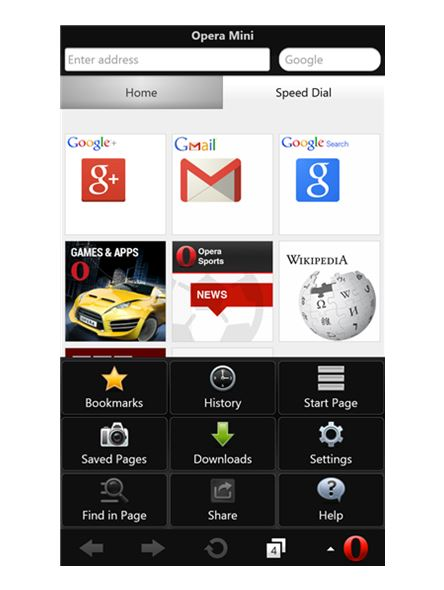 Opera Mini Windows Phone Screen
