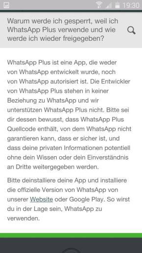 whatsapp sperrung plus