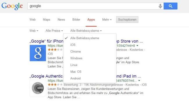 Google Suche Apps