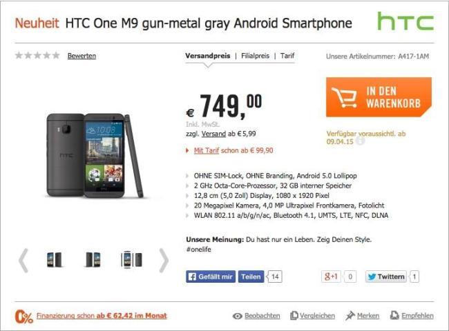 HTC One M9 Cyberport-Leak