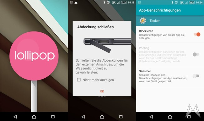 Android Lollipop auf dem Sony Xperia Z3 Compact