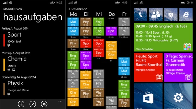 Class Scheduler windows phone