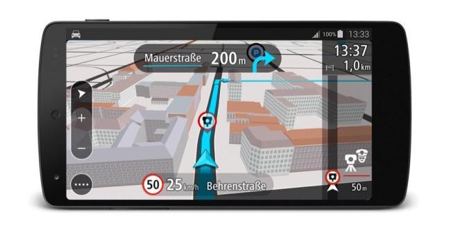 TomTom GO für Android_3D Navigationsansicht mit Blitzer_Quer