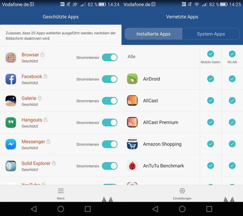 Huawei P8 Hintergrund und mobile Daten