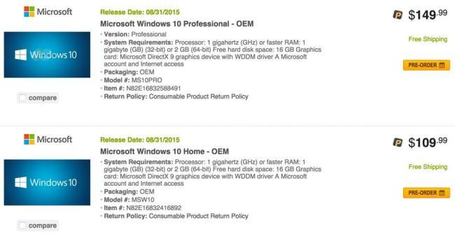 Windows 10 Preise