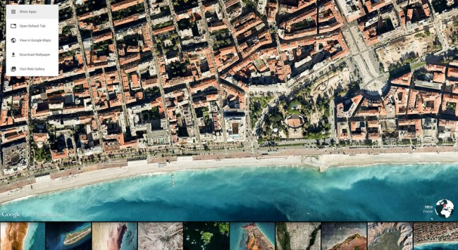 earth view menü historie