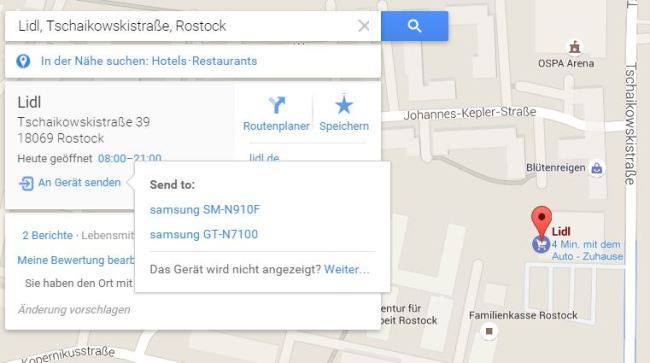 google maps route teilen